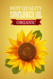 Sunflower oil label with n interesting logo on a yellow background Stock Photography