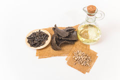 Sunflower oil, oilcake and sunflower seeds. Royalty Free Stock Image