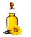 Sunflower oil, plant and seed Stock Photos