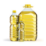 Sunflower oil in plastic bottles isolated on white. Royalty Free Stock Images