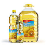 Sunflower oil in plastic bottles  on white. Royalty Free Stock Image