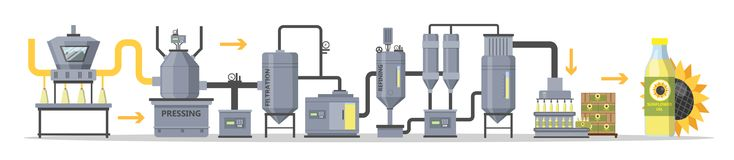 Sunflower oil production or manufacture process stages. Washing, pressing, filtrating and packaging bottles with organic oil. Isolated vector flat illustration royalty free illustration