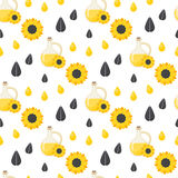 Sunflower oil seamless pattern Royalty Free Stock Image