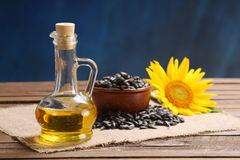 Sunflower oil, seed and sunflower Royalty Free Stock Photo