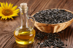 Sunflower oil, seed and sunflower Stock Images
