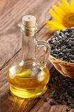 Sunflower oil, seed and sunflower Stock Photos
