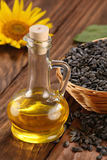 Sunflower oil, seed and sunflower Royalty Free Stock Photos