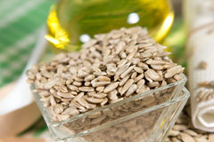 Sunflower oil and seeds Royalty Free Stock Image