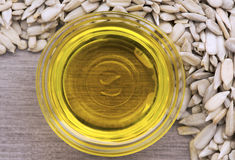 Sunflower oil with seeds royalty free stock image
