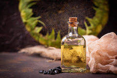 Sunflower oil and seeds Royalty Free Stock Photo