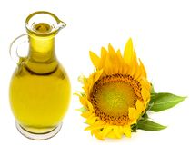 Sunflower oil and sunfllower Royalty Free Stock Photo