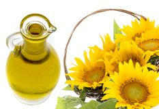 Sunflower oil and sunfllowers Royalty Free Stock Photography
