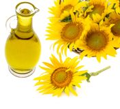 Sunflower oil and sunfllowers Stock Image