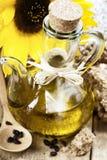 Sunflower oil and sunflower stock photos