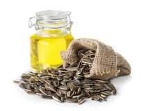 Sunflower oil and sunflower seeds royalty free stock image