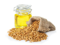 Sunflower oil and sunflower seeds royalty free stock photos