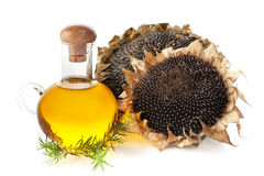 Sunflower oil and sunflower with seeds Stock Image