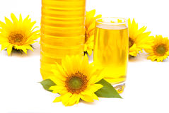 Sunflower oil and sunflowers Royalty Free Stock Photos