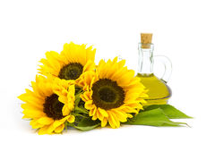 Sunflower oil and sunflowers royalty free stock photography