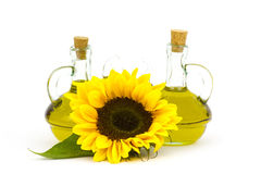 Sunflower oil and sunflowers Royalty Free Stock Image