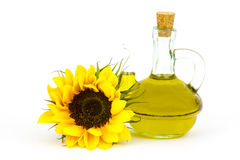 Sunflower oil and sunflowers Stock Photos