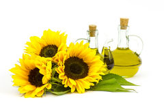 Sunflower oil and sunflowers Stock Image