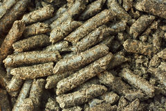 Sunflower oilcake pellets Stock Photos