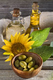 Sunflower and olive oil Royalty Free Stock Photos