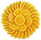 Sunflower orange, isolated. Sliced orange arranged in a sunflower shape on isolated white background stock photography
