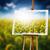 Sunflower Painting on Wooden Easel Royalty Free Stock Photos