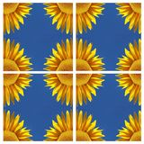 Sunflower-pattern with blue sky, symmetry vector illustration