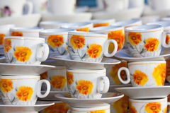 Sunflower pattern of cup Stock Photography