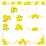 Sunflower and pearl decoration Stock Images