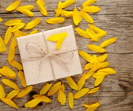 Sunflower petals and gift box Stock Photos
