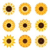 Sunflower emblem set Stock Photos