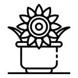 Sunflower plant pot icon, outline style vector illustration