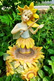 Sunflower porcelain doll Royalty Free Stock Image
