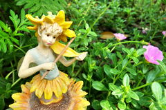 Sunflower porcelain doll Royalty Free Stock Images