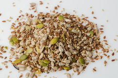 Sunflower, Pumpkin, Flax and Sesame seeds. On white background stock image
