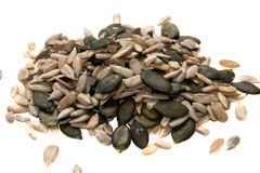 Sunflower and pumpkin seeds Stock Images