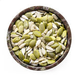Sunflower and Pumpkin Seeds in Bowl Top View Isolated Stock Photos