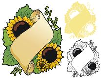 Sunflower scroll Royalty Free Stock Image