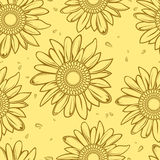 Sunflower seamless background Stock Photography