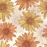 Sunflower seamless pattern Royalty Free Stock Photos