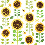 Sunflower seamless pattern Stock Photo