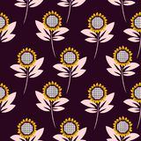 Sunflower seamless vector pattern background. Royalty Free Illustration