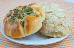 Sunflower Seed Bun and Almond Bit Bun Royalty Free Stock Images
