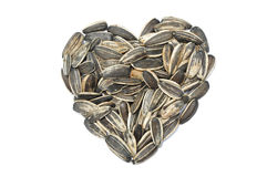 Sunflower seed in heart shape. The many of sunflower seed in heart shape Stock Images