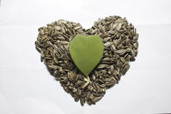 Sunflower seed with heart shape Royalty Free Stock Photo
