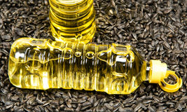 Sunflower-seed oil. Plastic bottle with sunflower-seed oil against sunflower seeds Stock Images
